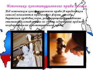 Источники конституционного права России Подисточником конституционного права