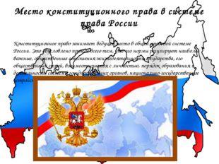 Место конституционного права в системе права России Конституционное право зан