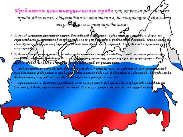 Предметом конституционного правакак отрасли российского права являются общес...