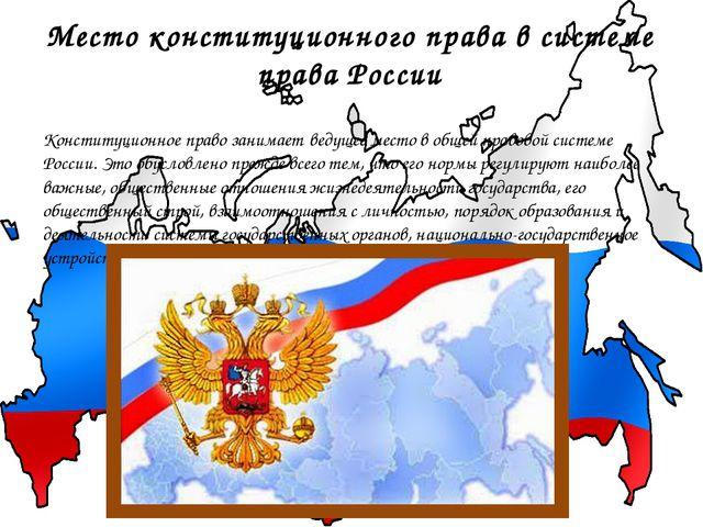 Место конституционного права в системе права России Конституционное право зан...