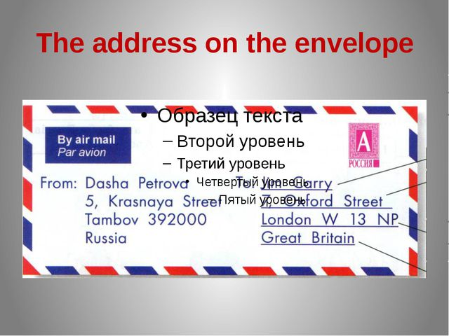 The address on the envelope