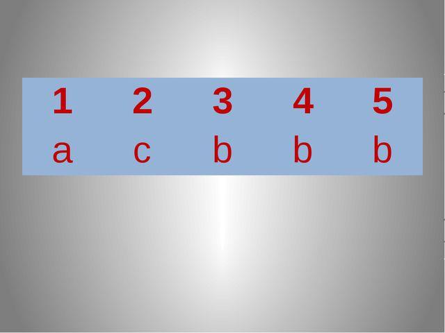1 2 3 4 5 a c b b b