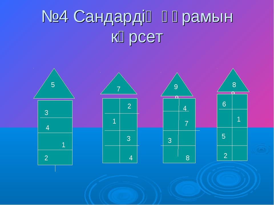 №4 Сандардің құрамын көрсет 7 9 5 9 9 8 1 4 3 2 1 2 3 4 4 7 3 8 6 2 5 1 7 9 5...