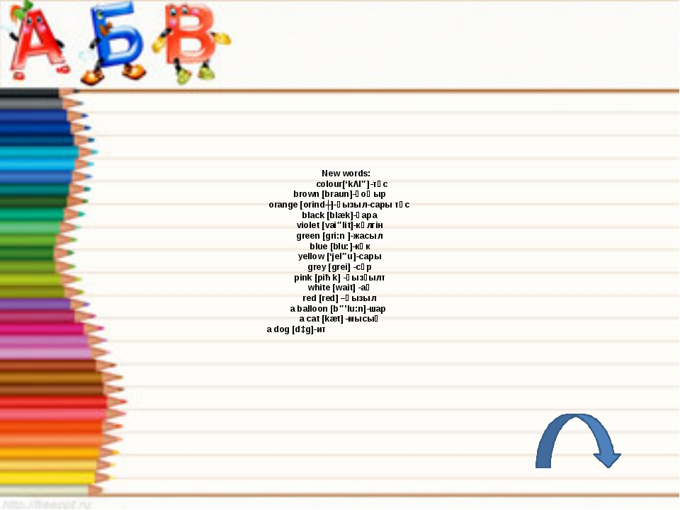 New words: colour['kΛlə]-түс brown [braun]-қоңыр orange [orindʒ]-қызыл-сар...