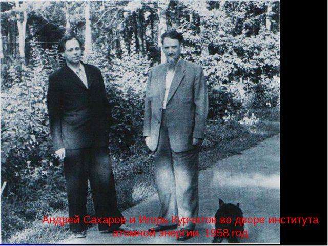 Андрей Сахаров и Игорь Курчатов во дворе института атомной энергии. 1958 год