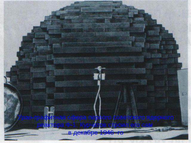 Уран-графитная сфера первого советского ядерного реактора Ф-1. Курчатов строи...