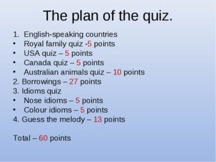 The plan of the quiz. English-speaking countries Royal family quiz -5 points