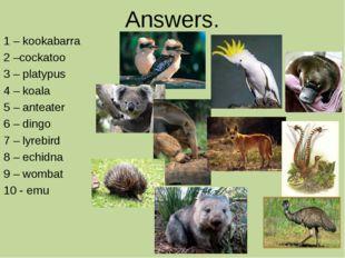 Answers. 1 – kookabarra 2 –cockatoo 3 – platypus 4 – koala 5 – anteater 6 – d