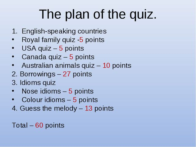 The plan of the quiz. English-speaking countries Royal family quiz -5 points...