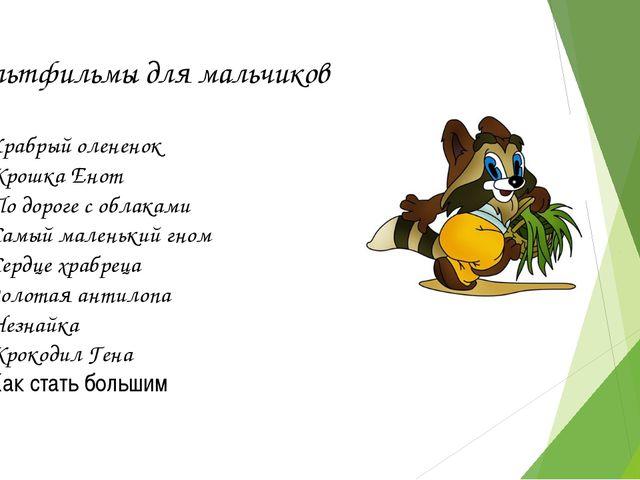 Мультфильмы для мальчиков Храбрый олененок Крошка Енот По дороге с облаками С...
