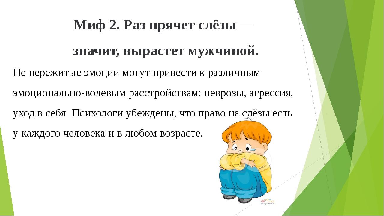 Миф 2. Раз прячет слёзы— значит, вырастет мужчиной. Не пережитые эмоции могу...