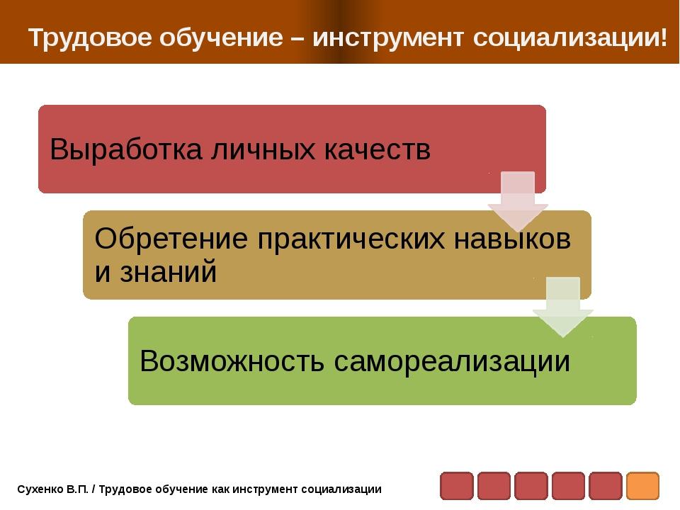 Трудовое обучение – инструмент социализации! Сухенко В.П. / Трудовое обучени...