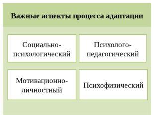 Важные аспекты процесса адаптации Психофизический Мотивационно-личностный Соц