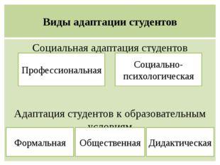 Виды адаптации студентов Социальная адаптация студентов Адаптация студентов к