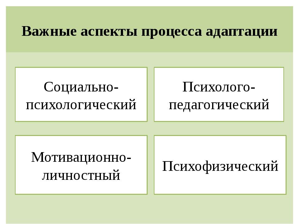 Важные аспекты процесса адаптации Психофизический Мотивационно-личностный Соц...