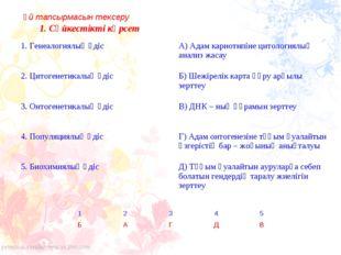 1. Сәйкестікті көрсет Үй тапсырмасын тексеру 1. Генеалогиялық әдіс А) Адам к