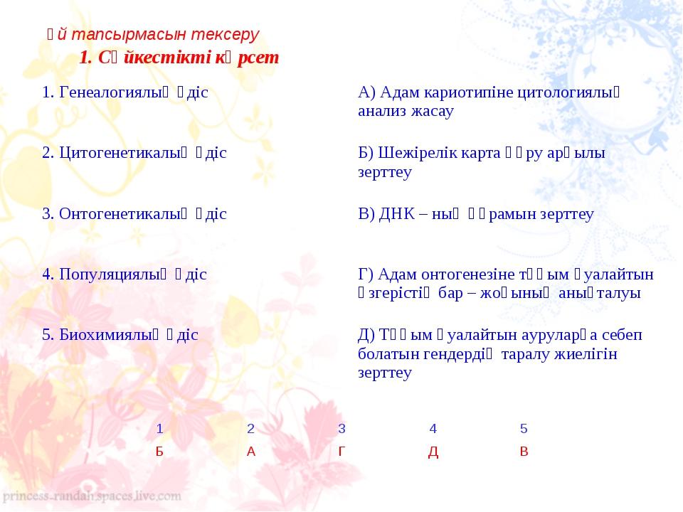 1. Сәйкестікті көрсет Үй тапсырмасын тексеру 1. Генеалогиялық әдіс А) Адам к...