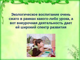 Экологическое воспитание очень сжато в рамках какого-либо урока, а вот внеуро