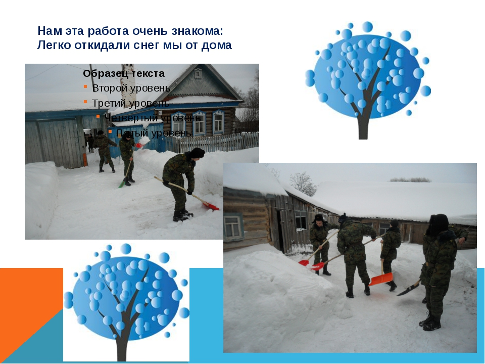 Нам эта работа очень знакома: Легко откидали снег мы от дома