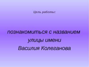 Цель работы: познакомиться с названием улицы имени Василия Колеганова