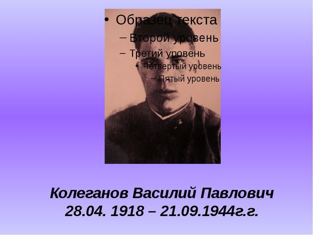 Колеганов Василий Павлович 28.04. 1918 – 21.09.1944г.г.