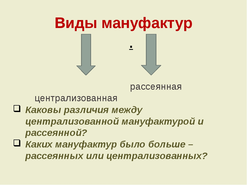 Виды мануфактур . централизованная рассеянная Каковы различия между централиз...