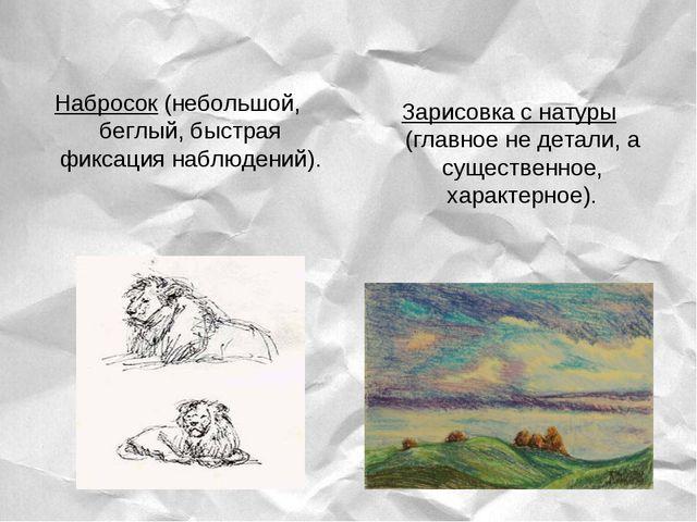 Набросок (небольшой, беглый, быстрая фиксация наблюдений). Зарисовка с натуры...