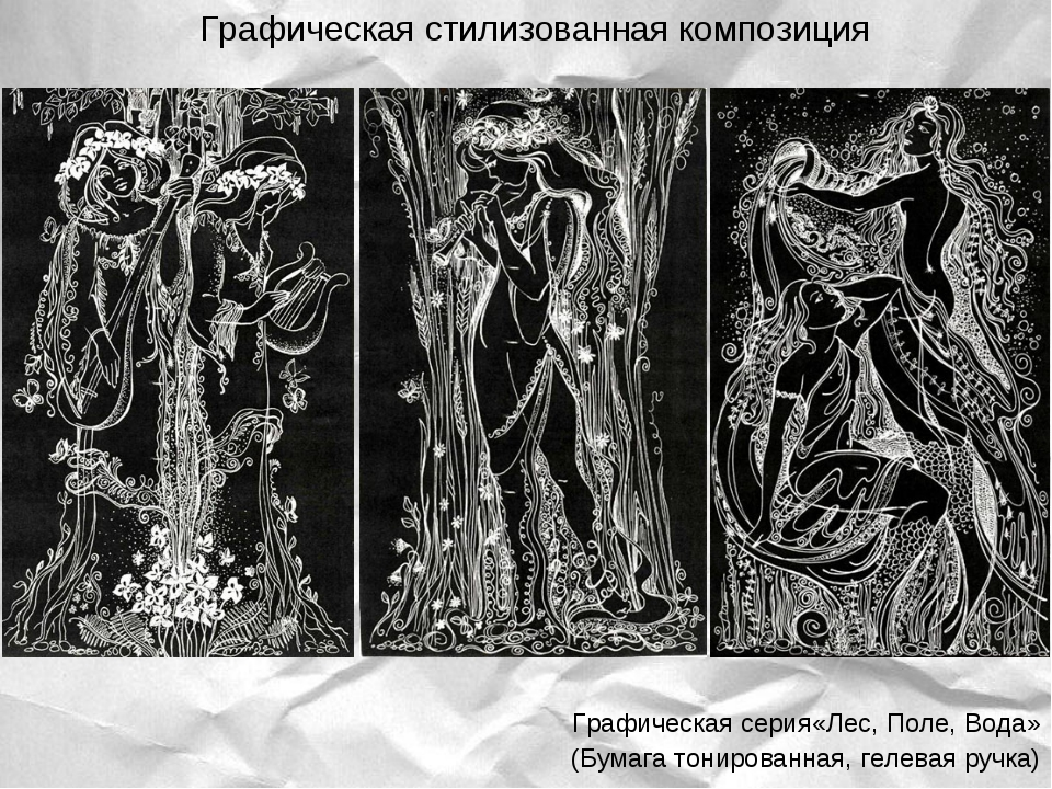 Графическая серия«Лес, Поле, Вода» (Бумага тонированная, гелевая ручка) Граф...