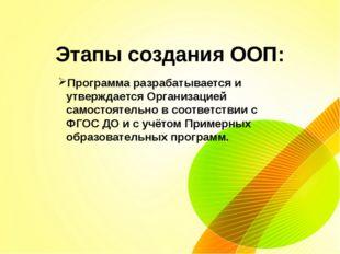 Этапы создания ООП: Программа разрабатывается и утверждается Организацией са