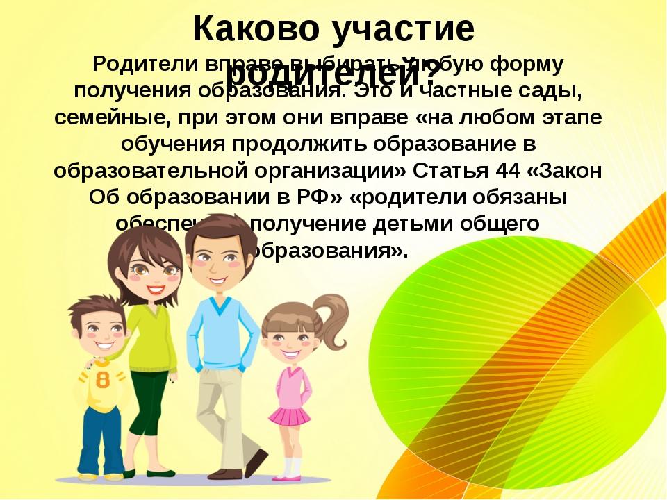 Каково участие родителей? Родители вправе выбирать любую форму получения обр...