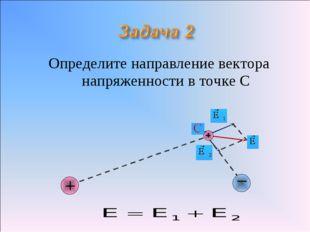 Определите направление вектора напряженности в точке С