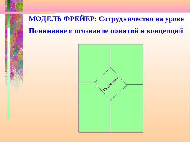 МОДЕЛЬ ФРЕЙЕР: Сотрудничество на уроке Понимание и осознание понятий и концеп...