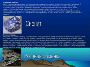 Щелочные породы. Щелочные породы характеризуются повышенным содержанием калия
