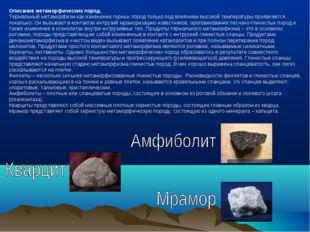 Описание метаморфических пород. Термальный метаморфизм как изменение горных п