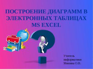ПОСТРОЕНИЕ ДИАГРАММ В ЭЛЕКТРОННЫХ ТАБЛИЦАХ MS EXCEL Учитель информатики Минин