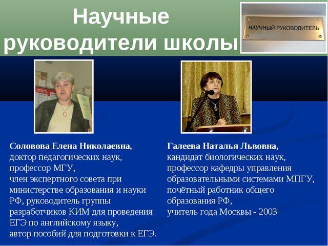 Научные руководители школы Соловова Елена Николаевна, доктор педагогических н...