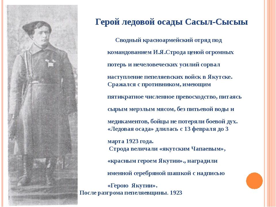 Герой ледовой осады Сасыл-Сысыы Сводный красноармейский отряд под командовани...