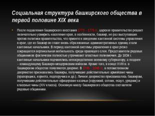 Социальная структура башкирского общества в первой половине XIX века После по