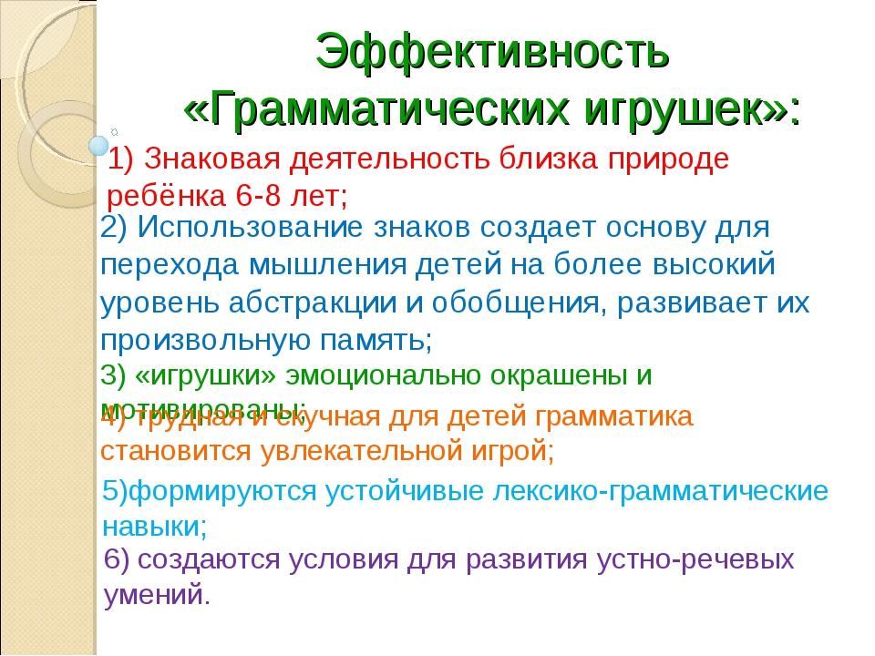 1) Знаковая деятельность близка природе ребёнка 6-8 лет; Эффективность «Грамм...