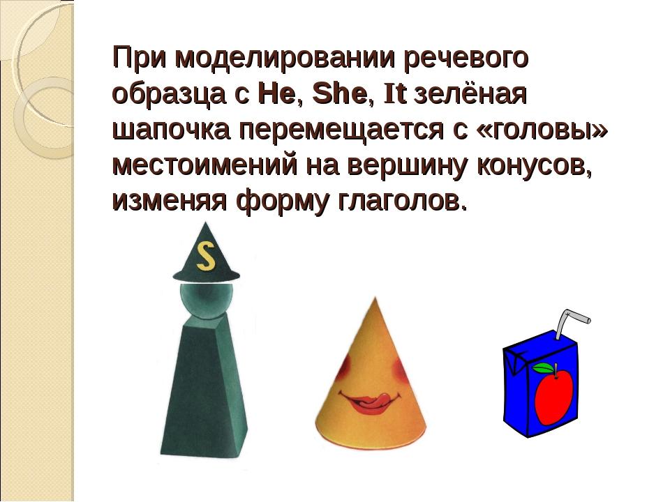 При моделировании речевого образца с He, She, It зелёная шапочка перемещается...