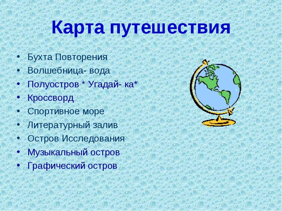 Карта путешествия Бухта Повторения Волшебница- вода Полуостров * Угадай- ка*...