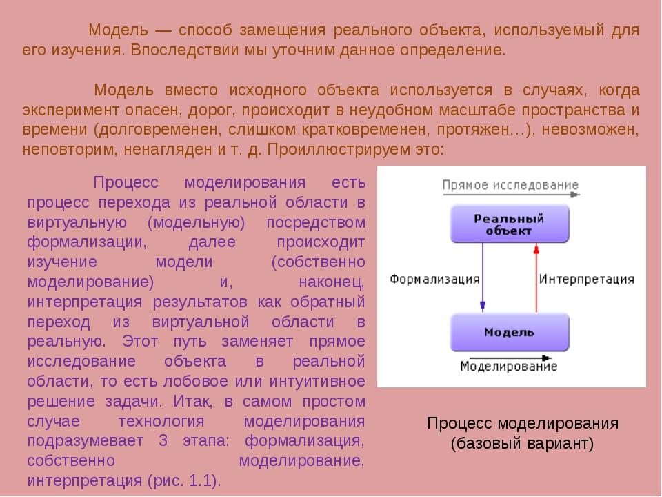 Модель — способ замещения реального объекта, используемый для его изучения....