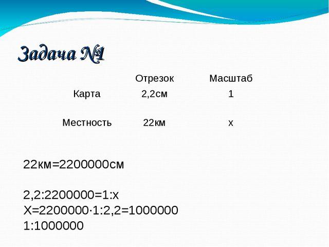 22км=2200000см 2,2:2200000=1:х Х=2200000·1:2,2=1000000 1:1000000 Задача №1 О...