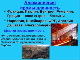 Алюминиевая промышленность Франция, Италия, Венгрия, Румыния, Греция – свое с