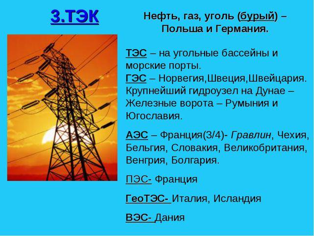 3.ТЭК Нефть, газ, уголь (бурый) – Польша и Германия. ТЭС – на угольные бассей...