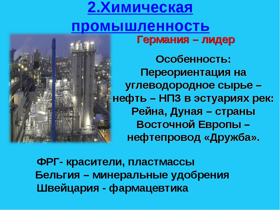 2.Химическая промышленность Германия – лидер Особенность: Переориентация на у...