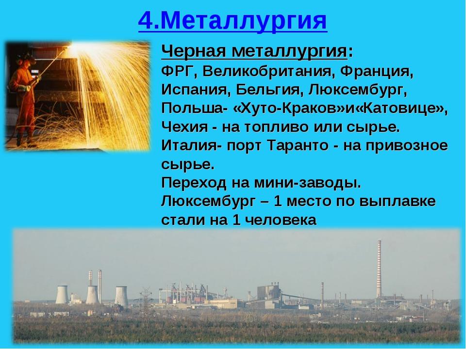 4.Металлургия Черная металлургия: ФРГ, Великобритания, Франция, Испания, Бель...