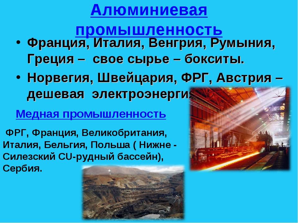 Алюминиевая промышленность Франция, Италия, Венгрия, Румыния, Греция – свое с...