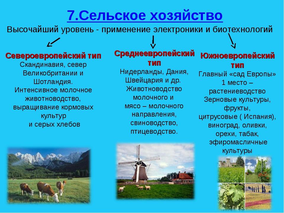 7.Сельское хозяйство Высочайший уровень - применение электроники и биотехноло...