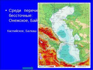 Среди перечисленных озер выберите бессточные: Каспийское, Балкаш, Онежское, Б